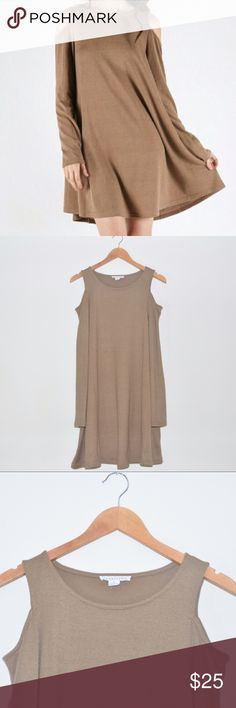 "New Boutique Mocha Tan COLD SHOULDER TRAPEZE DRESS This is a Loveriche Women's Cold Shoulder Dress. Color: Mocha. Size: Large. NWT.  * Long sleeves * Cold shoulder style * Trapeze style * Made of 55% Cotton, 35% Polyester, 10% Spandex. * Imported * Approx measurements: Large. Chest: 38"". Pit to Hem: 24"". Shoulder to Hem: 34"" Loveriche Dresses Long Sleeve"