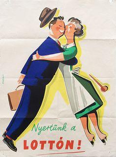 We won the lottery vintage poster  / Nyertünk a lottón! 1962 Artist: Káldor László