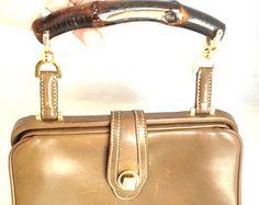 Vintage Gucci handbag bamboo handle 1950's brown leather RARE Retro pocketbook purse