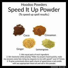 Speed up powder Witch Spell Book, Witchcraft Spell Books, Hoodoo Spells, Magick Spells, Jar Spells, Grimoire Book, Voodoo Hoodoo, Herbal Magic, Money Spells
