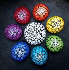 Rainbow Chakra Handpainted Mandala Stones - Set of 8 by StripeyCatsStudio on Etsy