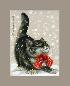 Winter-Cat-ACEO-Print-Red-Scarf-by-I-Garmashova