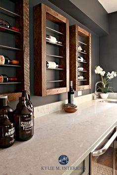Our Family Room – The Home Bar (Part Bianco Drift Quartz countertops. Wine bottle display Kylie M Wine Bottle Display, Wine Bottle Wall, Wine Rack Wall, Wall Racks, Pot Racks, Wine Bottles, Beer Bottle, Wine Rack Design, Wine Decor
