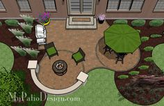 Circle Pavers and Curves Patio - Patio Designs & Ideas Again with the partial seating wall