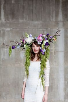 Okishima  Simmonds' 'Lizzy' headdress designed for British Flowers Week at New Covent Garden Flower Market