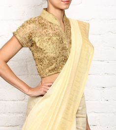 #Golden Cut Work #Cotton #Blouse by #Zaiba at #Indianroots
