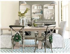 This neutral dining room uses an outdoor rug, making spills easy to clean Dining Room Furniture, Home Furniture, Dining Rooms, Painted Furniture, Gray Bathroom Decor, Home Decor Inspiration, Furniture Inspiration, Decor Ideas, Room Set