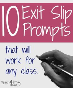 If you're not using exit slips, you really should try them. Basically, you give students a quick prompt at the end of class (or for elementary, at the end of the day or the end of a subject). Then the students have just a couple minutes to write an answer Teacher Tools, Teacher Hacks, Teacher Resources, Teacher Stuff, Teaching Strategies, Teaching Tips, Formative Assessment Strategies, Summative Assessment, School Classroom