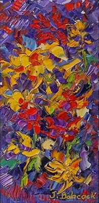 """Daily Painters Abstract Gallery: Abstract Flower Palette Knife Painting,Abstract Flower Art """"Contrasts"""" by Colorado Impressionist Judith Babcock"""