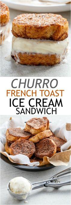 Churro French Toast Ice Cream Sandwich   http://cafedleites.com