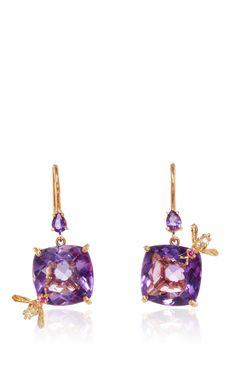 Amethyst Bee Earrings  by SHARON KHAZZAM for Preorder on Moda Operandi