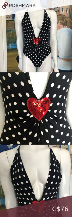 """Moschino swimsuit Very sexy, with a plunging neckline halter style. By """"Moschino"""". Black with white polka dots! Red sequin heart in front! Size 36 L Moschino Swim One Pieces Plus Fashion, Fashion Tips, Fashion Trends, Plunging Neckline, Moschino, Polka Dots, Sequins, Swimsuits, One Piece"""