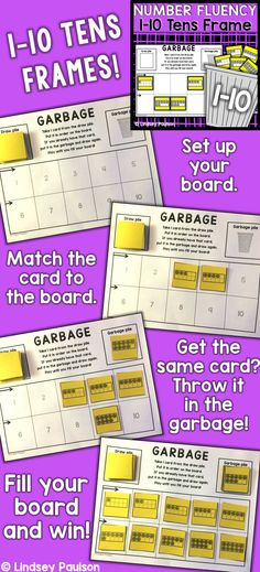 "Tens frames fluency 1-10 with ""Garbage"". Link has games for number ID, base ten, tens frame, and tally marks! 11-20 games too! TpT$"