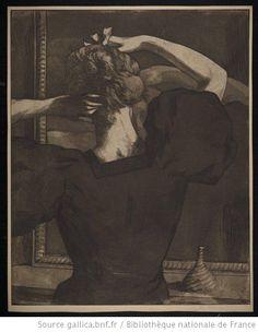 Femme se coiffant de dos : [estampe] / Alfredo Müller 97 - 9