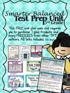 Preparing for the Computerized Standardized Assessments?  I created a 23 day Test Prep Unit for ELA that prepares students for the Smarter Balanced Assessment that we will be taking in 3rd grade in Missouri.  While I would have loved to have created ALL the resources needed for this unit, I relied heavily on other amazing TPT authors who have created produces perfect for test prep.