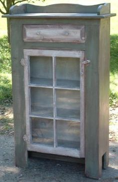 Rustic Country Prim Jelly Cabinet from Granny Jane's Wood Shed-Made in the USA Primitive Cabinets, Rustic Cabinets, Primitive Furniture, Repurposed Furniture, Rustic Furniture, Diy Furniture, Furniture Buyers, Old Window Projects, Diy Wood Projects