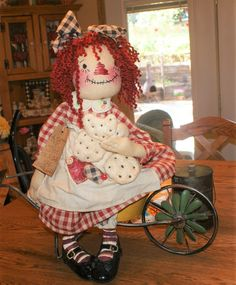 Created by Dee Pietz---Dee's Adorable Annies Raggedy Ann And Andy, Ooak Dolls, Doll Patterns, Annie, Primitive, Teddy Bear, Create, Toys, Friends