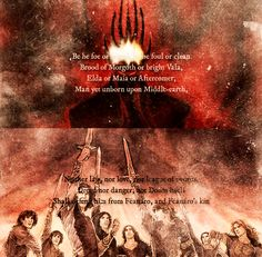 Then Fëanor swore a terrible oath. His seven sons leapt straightway to his side and took the selfsame vow together, and red as blood shone their drawn swords in the glare of the torches. They swore an oath which none shall break, and none should take, by the name even of Ilúvatar, calling the Everlasting Dark upon them if they kept it not.