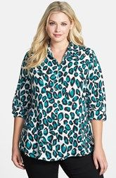 Foxcroft Animal Print Shirt (Plus Size)
