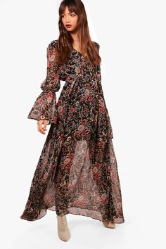 Sustainable bohemian fashion Tiered oversized swing dress Plus size fashion Red boho smock dress with long puffed sleeves very Instagram