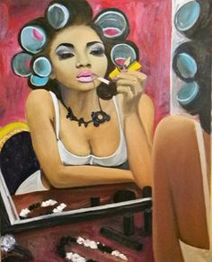 Premeditated by Yalonda McQuinn  Size: 16x20  Medium: Oil  Series: If my Hair could talk...