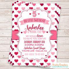 VALENTINE BIRTHDAY INVITATION Sweetheart Chalkboard Invitation Heart