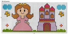 Principessa e castello punto croce schema bebè bavaglino corredino bambina