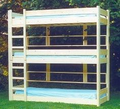 Three high bunk bed what i need for my 3 boys but would add head board shelves for each bunk