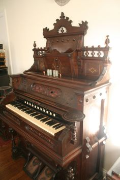 gothic VICTORIAN parlor pump organ EASTLAKE carved walnut Wouldn't mind one of these, either! Victorian Parlor, Victorian Decor, Victorian Gothic, Victorian Homes, Victorian Fashion, Victorian Interiors, Victorian Furniture, Antique Furniture, Funky Furniture