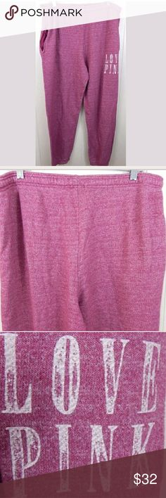 """VS Pink Magenta Jogger Sweats Tapered joggers by PINK. Rose pink/magenta purple color. Soft oversized cut with elastic at the ankles. Gently loved with minor pilling. Size large, 34"""" stretchy waist and 33"""" inseam. No trades. PINK Victoria's Secret Pants Track Pants & Joggers"""
