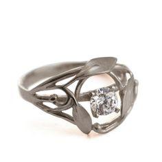 Leaves Engagement Ring No.5 - 18K White Gold and Diamond ring by Doron Merav