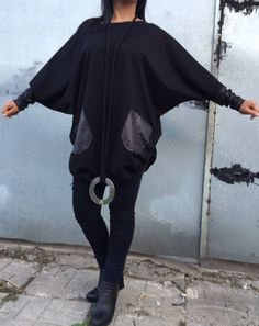 Oversized Tunic Black Loose Tunic  with Faux Leather by JMSTYLE
