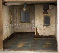 Antique Doll House, Painted, Large Size, first floor detail Antique Dollhouse, Antique Dolls, Fairy Houses, Doll Houses, Derelict House, Miniature Houses, Miniture Things, Abandoned Houses, Model Homes