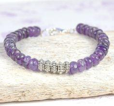 February Birthstone - Amethyst Silver Bracelet by Theresa Rose Designs