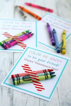 Easy and fun printable crayon valentines for kids! These Color Me Happy valentine cards are a cute non-food valentine to pass out to their friends!