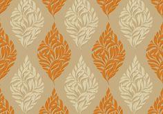 Diseño de hojas en este papel pintado de la colección Saphyr II de Grandeco.