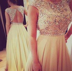 prom long dress jewels neckline formal elegant backless prom dress,champagne dress,beaded dress