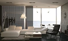 black white interior design living room