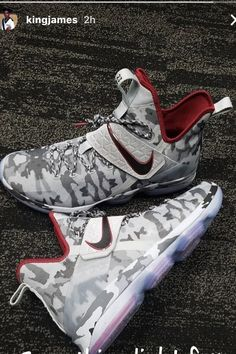 LeBron James wearing and Nike Sneakers Girls Basketball Shoes, Boys Shoes, Basketball Practice, Basketball Stuff, Swag Shoes, Camo Shoes, Lebron 14, Nike Lebron, Lebron James