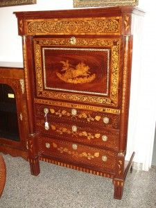 High Quality Old Dutch Secretaire, Mahogany And Feather, Inlaid Wood Of Fruit, Inlay  Depicting The