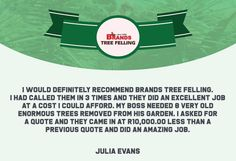 Thank you, Julia Evans, for your wonderful comment on the work done by the Brands Tree Felling team.  We appreciate your kind words!  www.brandstreefelling.co.za  #compliments #treefelling #treecare #brandstreefelling