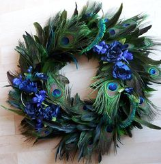 Peacock Feather wreath, #wreath, #blue and green