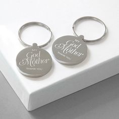 Our 'Godmother' Keyring is engraved with the message 'My Godmother thank you'. The reverse of the keyring can be personalised with your own wording. Supplied in a natural cotton bag. Godparent Gifts, Baptism Gifts, Christening Gifts, Personalized Gifts, Godfather Gifts, Clear Plastic Bags, Cotton Bag, Mother Day Gifts, Gift Tags