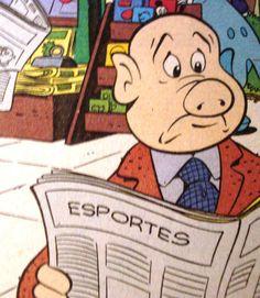 Leitor de jornal em Patópolis, ilustração de Walt Disney.