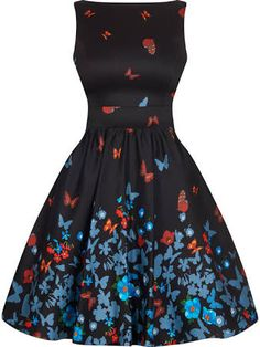 Lady V, London - Black Butterfly Tea Dress. Chic black with vibrant butterfly print tea dress. A delightful vintage style dress perfect for highlighting your pin-up style. This dress has a high neck at the front and v-back which cr Vintage Tea Party Dresses, Vintage Formal Dresses, Tea Dresses, Dress Formal, Dress Vintage, Formal Wear, Frock Fashion, Fashion Outfits, Africa Dress