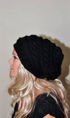 Slouchy Hat Slouchy Beanie Cabled Hand Knit Braided Winter Adult Teen  CHOOSE COLOR Black Midnight Dark Chunky Gift under 50 3773a448884e