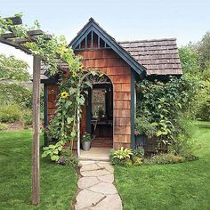 Cedar Shingle Garden Shed Rustic finishes add careworn detail to this pretty garden shed. Stylish enough to serve as a focal point, the garden shed offers shelter for containers, room enough for potting plants, and ample storage, too. Cottage Garden Sheds, Garden Tool Shed, Cottage Gardens, Shed Playhouse, Shed Sizes, Cedar Shingles, English Country Gardens, Potting Sheds, Potting Benches
