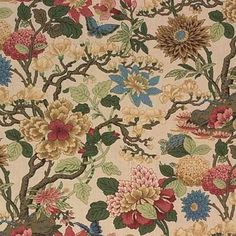 G P & J Baker Fabric Magnolia Biscuit/Sand Baker Originals Linen United Kingdom Light Horizontal: see sample and Vertical: inches inches - My Fabric Connection - Drapery Fabric, Fabric Decor, Linen Fabric, Fabric Design, Print Design, Magnolia Colors, Gp&j Baker, Kitchen Fabric, Kitchen Curtains
