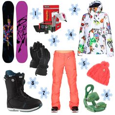 Holiday Gift Guide, The Snowboard Bum: 1. Burton Deja Vu Flying V Snowboard 2. Hotronic Snapdry Boot & Glove Dryer 3. Burton Gore-Tex Glove 4. Volcom Clove Insulated Jacket 5. Volcom Leaf Beanie 6. Burton Stiletto EST Snowboard Binding 7. Volcom Zoomer Pant 8. Burton Bootique Snowboard Boots