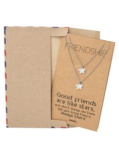 Delight your best friend with these matching best friend necklaces set. Comes with a friendship quote card that helps you express how you feel. Star Necklace, Diy Necklace, Good Friends Are Like Stars, Best Gifts, Nice Gifts, Best Friend Necklaces, Gift Envelope, Friendship Necklaces, Star Pendant
